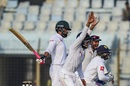 Kusal Mendis, Niroshan Dickwella and Dimuth Karunaratne fly into an appeal, Bangladesh v Sri Lanka, 1st Test, Chittagong, 4th day, February 3, 2018