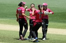 Sarah Coyte celebrates a wicket with team-mates, Perth Scorchers v Sydney Sixers, WBBL 2017-18, final, Adelaide, February 4, 2018