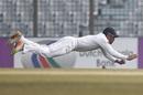 Dhananjaya de Silva dives to stop the ball, Bangladesh v Sri Lanka, 1st Test, Chittagong, 5th day, February 4, 2018