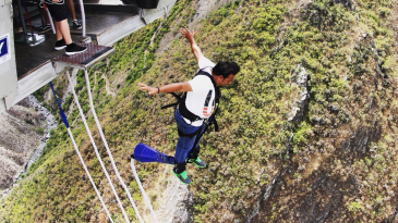 Geronimo! The author goes feet first in his bungee jump
