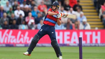 Jos Buttler heaves through the leg-side while standing in as England's T20 captain