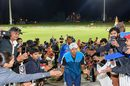 Rahul Dravid acknowledges the congratulations of fans as he walks off the field after India's win, Australia v India, Under-19 World Cup final, Mount Maunganui, February 3, 2018