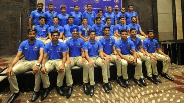 The India U-19 team pose for the press after returning to India