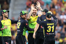 Kane Richardson claimed the early wicket of Jason Roy, Australia v England, 2nd match, T20 Tri-Series, Hobart, February 7, 2018