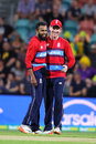 Adil Rashid gets a pat on the back from his captain, Australia v England, 2nd match, T20 Tri-Series, Hobart, February 7, 2018