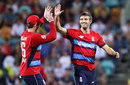Mark Wood gets a high five, Australia v England, 2nd match, T20 Tri-Series, Hobart, February 7, 2018