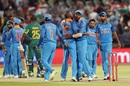 India celebrate their 124-run win in Cape Town, South Africa v India, 3rd ODI, Cape Town, February 7, 2018