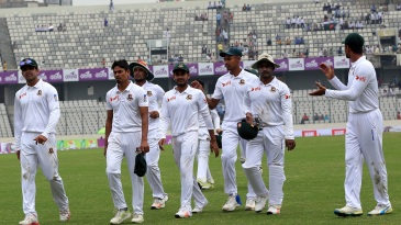 Bangladesh players return to the dressing room