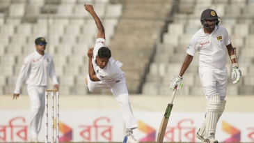 Mustafizur Rahman powers through his bowling action