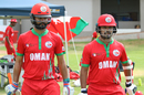 Jatinder Singh and Swapnil Khadye cross the rope for the start of play, Canada v Oman, ICC World Cricket League Division Two, Windhoek, February 8, 2018