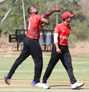 Dillon Heyliger mocks the opposition batsman while celebrating a wicket, Canada v Oman, ICC World Cricket League Division Two, Windhoek, February 8, 2018