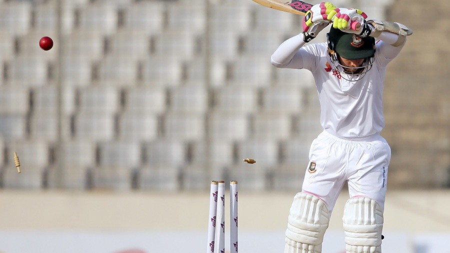 Mushfiqur Rahim shouldered arms to an inswinger and was bowled for 1