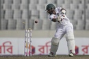 Liton Das is bowled by Suranga Lakmal, Bangladesh v Sri Lanka, 2nd Test, Mirpur, 2nd day, February 9, 2018