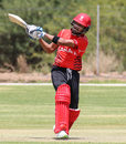Nitish Kumar perfectly times a reverse pull for six over backward square leg, Canada v Oman, ICC World Cricket League Division Two, Windhoek, February 8, 2018