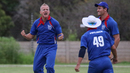 Craig Williams erupts after taking another wicket, Namibia v Nepal, ICC World Cricket League Division Two, Windhoek, February 8, 2018