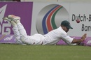 Substitute fielder Tanbir Hayder fails to stop a boundary, Bangladesh v Sri Lanka, 2nd Test, Mirpur, 2nd day, February 9, 2018