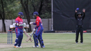Basant Regmi punches gloves with Sandeep Lamichhane after smashing a crucial six, Namibia v Nepal, ICC World Cricket League Division Two, Windhoek, February 8, 2018