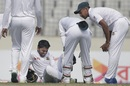 Mominul Haque was in some pain after being hit on the shin, Bangladesh v Sri Lanka, 2nd Test, Mirpur, 2nd day, February 9, 2018