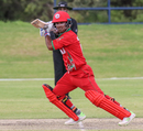 Vaibhav Wategaonkar drives through the off side during his unbeaten knock, Nepal v Oman, ICC World Cricket League Division Two, Windhoek, February 9, 2018