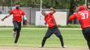 Cecil Pervez punches the air after claiming the final wicket to seal victory, Canada v UAE, ICC World Cricket League Division Two, Windhoek, February 9, 2018