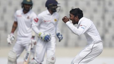 Akila Dananjaya celebrates a wicket on debut