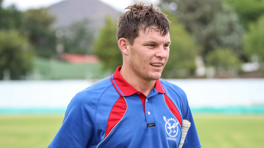 Gerhard Erasmus walks off exhausted but exultant after taking Namibia to victory