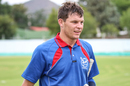 Gerhard Erasmus walks off exhausted but exultant after taking Namibia to victory, Namibia v Oman, ICC World Cricket League Division Two, Windhoek, February 11, 2018