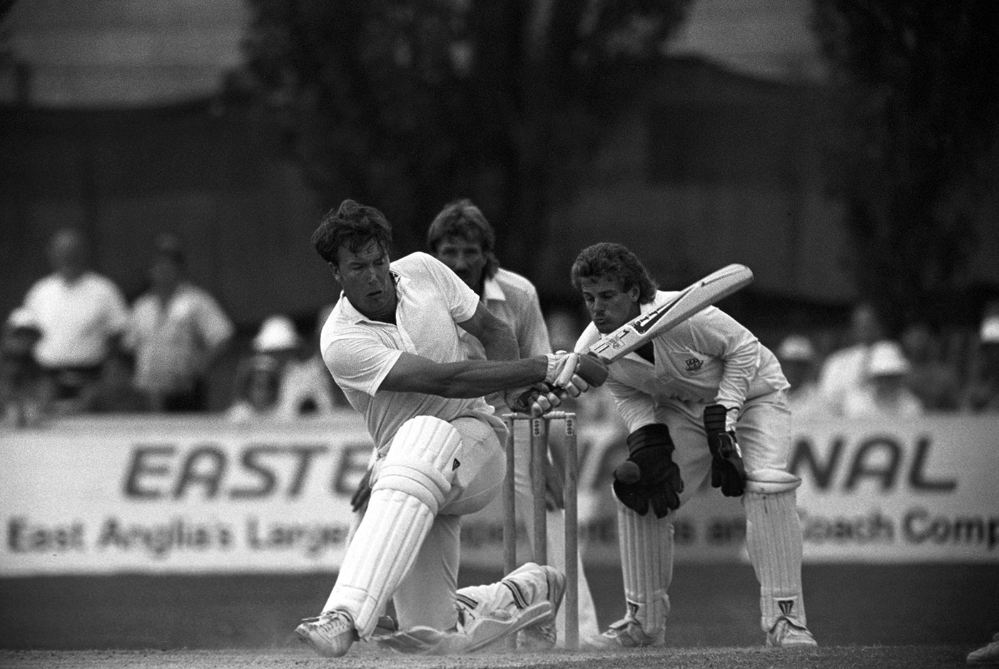 The author bats, watched from slip by Botham, in a 1989 County Championship game
