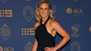 Ellyse Perry poses at the Allan Border Medal ceremony