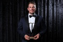 Aaron Finch poses with the T20 Player of the Year award, Melbourne, February 12, 2018