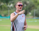 Coach Dougie Brown gives instructions to his squad ahead of a warm-up drill, Nepal v UAE, ICC World Cricket League Division Two, Windhoek, February 11, 2018