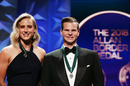 Ellyse Perry and Steven Smith pose with their awards, Melbourne, February 12, 2018