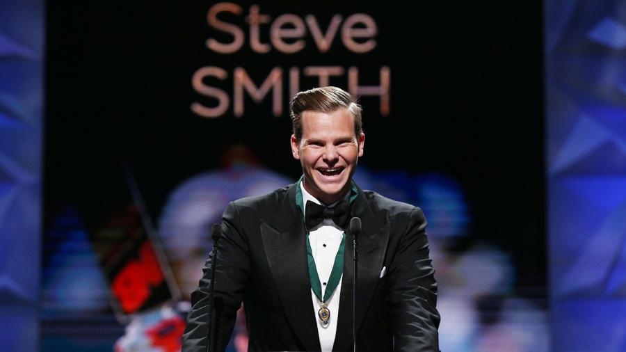 Steven Smith speaks after winning the Allan Border medal