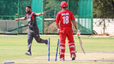 Mohammad Naveed seals a tense win by bowling Bilal Khan with a yorker for his third wicket