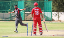 Mohammad Naveed seals a tense win by bowling Bilal Khan with a yorker for his third wicket, Oman v UAE, ICC World Cricket League Division Two, Windhoek, February 12, 2018