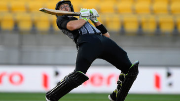 Martin Guptill sways to play the ramp