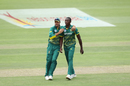Aiden Markram and Kagiso Rabada celebrate the dismissal of Shikhar Dhawan, South Africa v India, 5th ODI, Port Elizabeth, February 13, 2018
