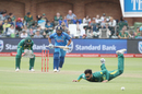 Rohit Sharma sets off for a run as JP Duminy fails to stop a ball off his own bowling, South Africa v India, 5th ODI, Port Elizabeth, February 13, 2018