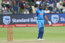 Rohit Sharma raises his bat after getting to his century, South Africa v India, 5th ODI, Port Elizabeth, February 13, 2018