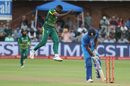 Lungi Ngidi celebrates the the wicket of Rohit Sharma, South Africa v India, 5th ODI, Port Elizabeth, February 13, 2018