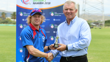 Bernard Scholtz accepts the Man of the Match award from ICC Associate board representative Francois Erasmus