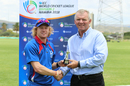 Bernard Scholtz accepts the Man of the Match award from ICC Associate board representative Francois Erasmus, Namibia v Kenya, ICC World Cricket League Division Two, Windhoek, February 13, 2018