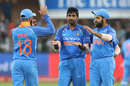 Jasprit Bumrah is congratulated by his team-mates upon picking up Aiden Markram's wicket, South Africa v India, 5th ODI, Port Elizabeth, February 13, 2018