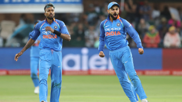 Virat Kohli lets out a roar as Hardik Pandya had JP Duminy caught at slip