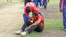 Sandeep Lamichhane consoles Canada medium pacer Cecil Pervez after the final ball, Canada v Nepal, ICC World Cricket League Division Two, Windhoek, February 14, 2018