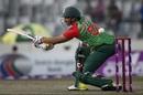 Soumya Sarkar misses a cut away from his body, Bangladesh v Sri Lanka, 1st T20I, Mirpur, February 15, 2018