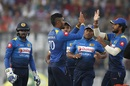Danushka Gunathilaka celebrates a wicket with his team-mates, Bangladesh v Sri Lanka, 1st T20I, Mirpur, February 15, 2018
