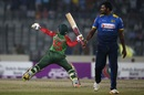 Thisara Perera looks an as Mushfiqur Rahim celebrates his second T20I fifty, Bangladesh v Sri Lanka, 1st T20I, Mirpur, February 15, 2018