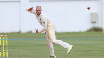 Jack Leach in action against West Indies A
