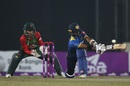Dasun Shanaka sweeps towards the leg side, Bangladesh v Sri Lanka, 1st T20I, Mirpur, February 15, 2018